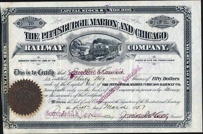 Pittsburgh Marion And Chicago Railway Co, Ohio & Pa, 1887 Stock Certificate