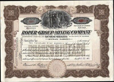 Roper Group Mining Co Of New Mexico, 1921, Uncancelled Stock Certificate