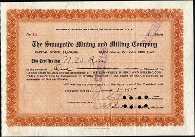 Sunnyside Mining And Milling Co 1917 Stock Certificate