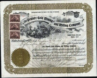Venture Gold Mining And Millling Co, 1898 Guffey (Freshwater) Park Co, Colorado