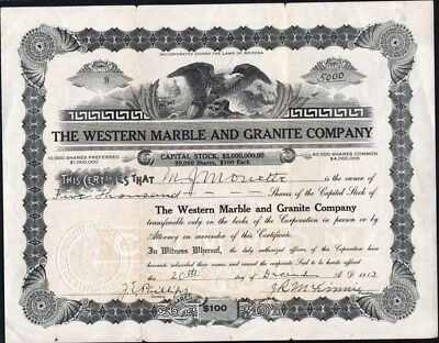 Western Marble And Granite Co Of Arizona, 1913, Uncancelled Stock Certificate