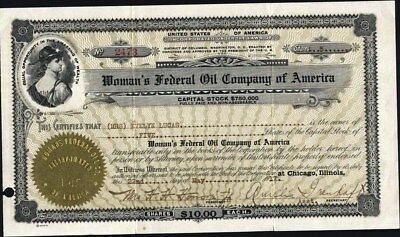 Woman's Federal Oil Co Of America, 1917, Washington Dc Stock Certificate