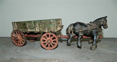 Antique ARCADE Cast Iron McCormick Deering Wagon Base & Two Horse Toy