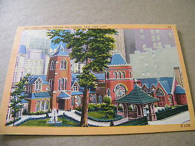 Vintage Linen Postcard The Little Church Around The Corner New York City