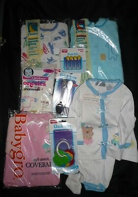Vintage LOT BABY NEW OLD STOCK PAJAMAS, TERRY COVERALLS, RATTLE, PINS FORK SPOON