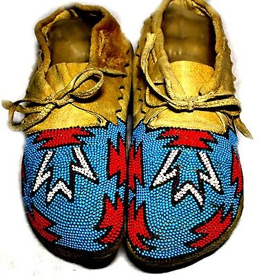 """Vintage Antique Circa 1920 Sioux Native Indian Artifact 9""""  Beaded Moccasins"""