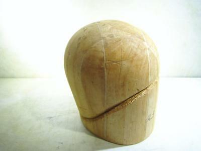 Vintage Wooden Hat Block Head Form Display Mold Millinery