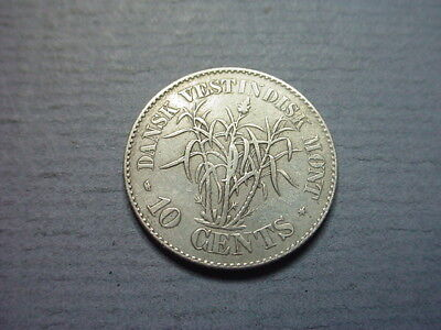 Danish West Indies Silver 10 Cents 1859  #30577