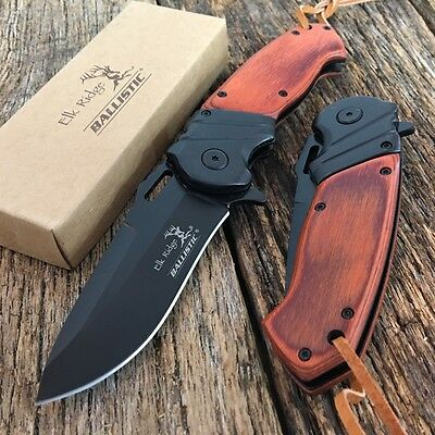 ELK RIDGE BALLASTIC Assisted Opening Folding Pocket Knife Wood Handle A003BW P