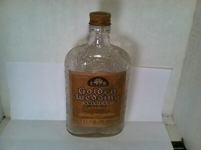 Distillers Corp Ltd Golden Wedding Pure Rye Whiskey pint bottle w/cap Montreal