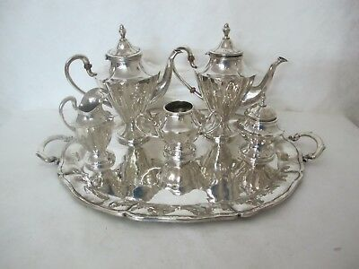 Brilliant Mexican Sterling Silver Coffee Service With 6 Pieces Including Tray