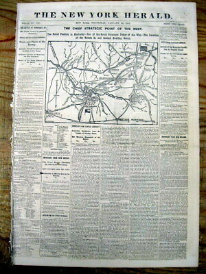 1862 displayable Civil War newspaper w Large Map BATTLE of MILL SPRINGS Kentucky
