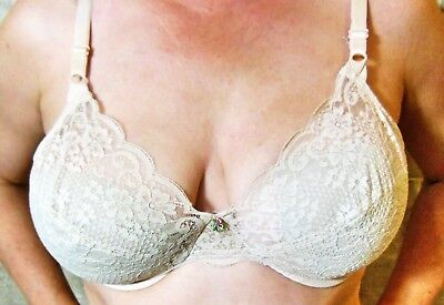 GREAT FIND!!! 1960s SEARS BRA BEIGE VERY SHEER LACE UNDERWIRE 38C EVC