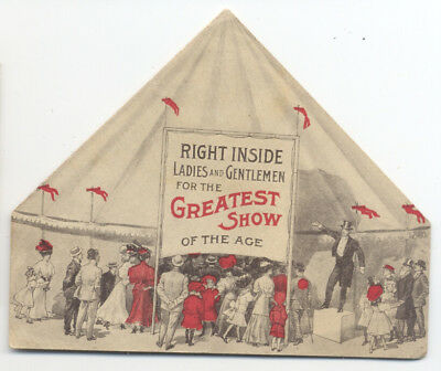 EDISON CYLINDER PHONOGRAPH Die Cut CIRCUS TENT Pamphlet Victor Talking Machine