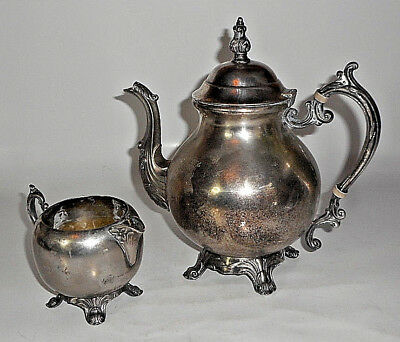 Antique FB Rogers Silver Plated Lidded Tea Coffee Pot w/ Creamer