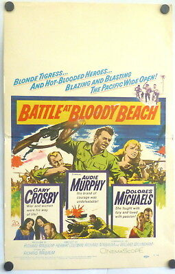 Audie Murphy Battle at Bloody Beach Original 1961 Window Card Poster WWII
