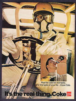 """1971 NHRA Funny Car Driver photo Coca-Cola """"It's The Real Thing"""" promo print ad"""
