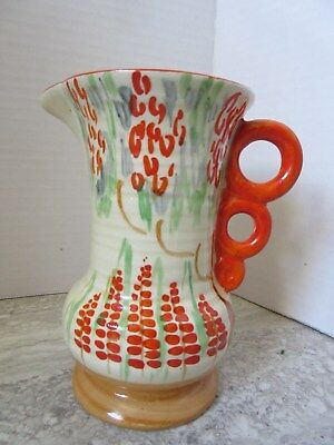 Vintage Wade Heath Art Deco Hand Painted Pitcher Orange Flowers 113