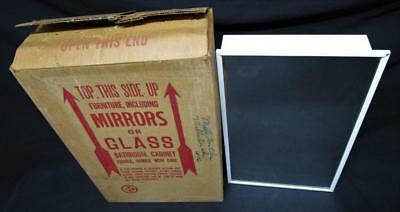 Vintage 1960's NOS White Metal Bathroom Medicine Cabinet Mirror