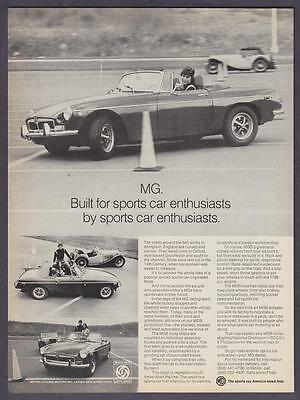 """1973 MG MGB Convertible on Driving Course photo """"For Sportscar Enthusiasts"""" Ad"""