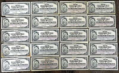 Lot of 20x 1974 Canadian Tire 25 Cents Notes - CTC-S4-D