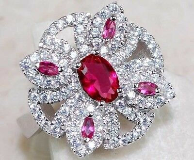 2CT Ruby & White Topaz 925 Solid Genuine Sterling Silver Ring Jewelry Sz 8, T4-8
