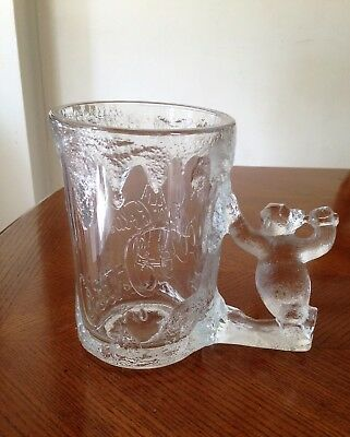 Vintage 1997 Frosted Glass Coca Cola Polar Bear Heavy Glass Mug