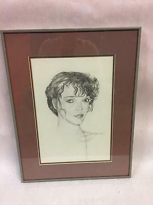 Charcoal Portrait of Woman Signed by Artist Beautiful Drawing