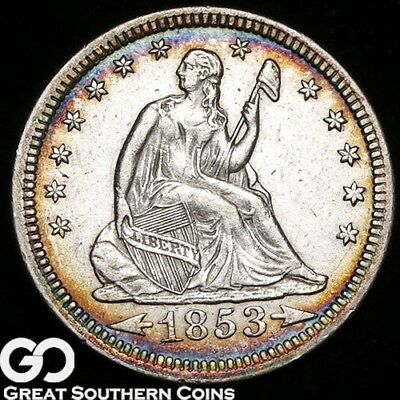 1853 Seated Liberty Quarter, Arrows and Rays, Scarce AU+ Better Date, Nice Color