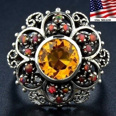 2CT Golden Citrine 925 Solid Sterling Silver Ring Jewelry Sz 7, F1-6