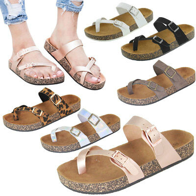 ad0eed2c353 NEW Thong Open Toe Double Buckle Strap Slides Cork Flat Sandal Shoe Flip  Flops