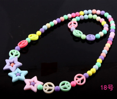 2pcs/set Children's Five-pointed star Peace sign Jewelry Colorful Acrylic Beads