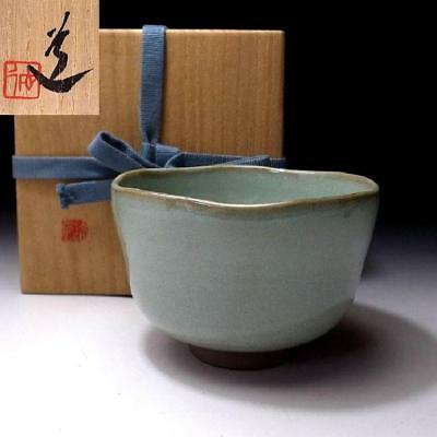 DF5: Vintage Japanese Celadon Tea Bowl, Kyo Ware with Signed Wooden Box