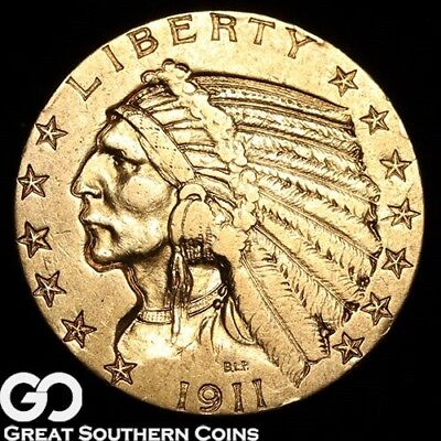 1911 Half Eagle, $5 Gold Indian ** Free Shipping!