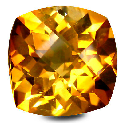 1.72 ct AAA Shimmering Cushion Shape (7 x 7 mm) Yellow Citrine Natural Gemstone