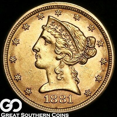 1881 Half Eagle, $5 Gold Liberty, Nice Lustrous Coin ** Free Shipping!