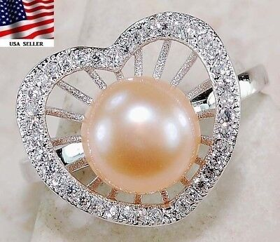 Rose Pearl & White Topaz 925 Solid  Sterling Silver Ring  Jewelry Sz 7, T4-9