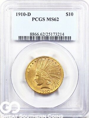 1910-D PCGS Eagle, $10 Gold Indian PCGS MS 62 ** Free Shipping!