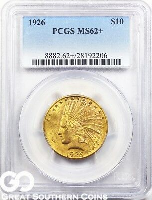 1926 PCGS Eagle, $10 Gold Indian PCGS MS 62+ ** Super PQ ** Free Shipping!