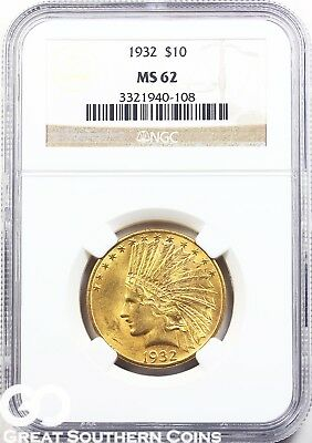 1932 NGC Eagle, $10 Gold Indian NGC MS 62 ** Nice Luster ** Free Shipping!