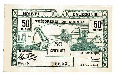 Nouvelle Caledonie New Caledonia Noumea 1943 50 Centimes Banknote