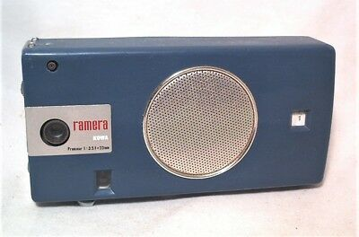 RARE 1960s KOWA RAMERA BLUE AM TRANSISTOR RADIO & 16MM SUBMINIATURE CAMERA COMBO