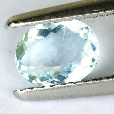 #*0.52 cts. 6.3 x 5 mm. UNHEATED NATURAL BLUE AQUAMARINE OVAL BRAZIL
