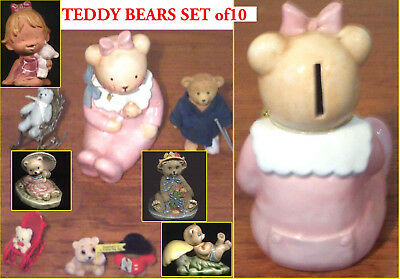 Ornamental Assorted SET of 10 Teddy Bear Animal Figurines Dimensions 5cm to 11cm