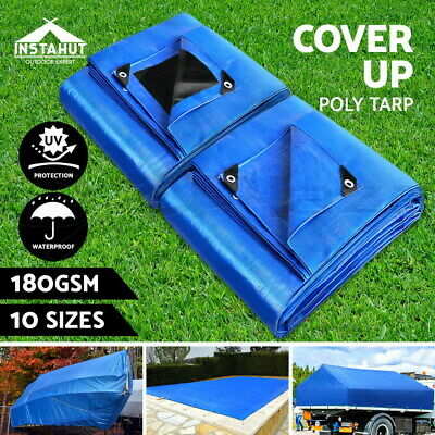 Instahut Heavy Duty Poly Tarps Tarpaulin Camping Tarp Cover UV Waterproof 180gsm