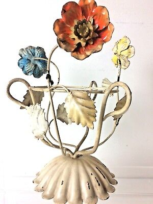 VTG Painted Metal Toleware Flowers Plant Holder Made In Italy Shabby Cottage