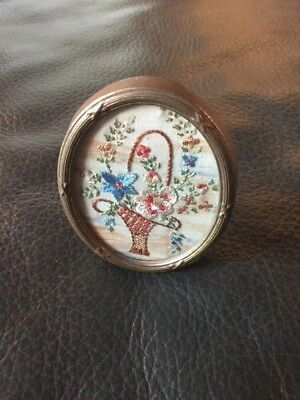 Vintage Hand Embroidered Picture In Original Frame- Beautiful Miniature Flowers