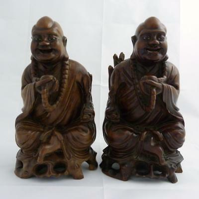 Pair Of Chinese Bamboo Root Carvings Of Buddha, 19Th Century