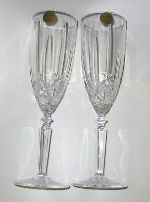 Set of 2 Capri Cut Crystal Fluted Wine Champagne Glasses made in Italy