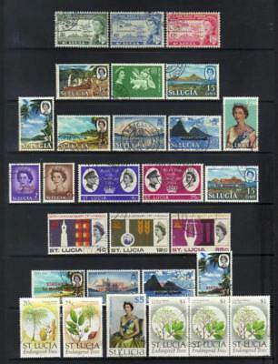 St Lucia Qeii Used Selection Incl Sets Cat £26+